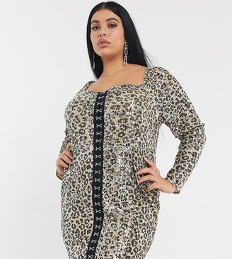 Pretty Darling Plus hook and eye square neck mini dress in leopard sequin
