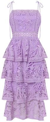 True Decadence Lilac Lace Tiered Midi Dress