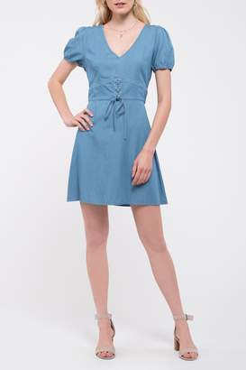 Blu Pepper Chambray Lace Mini Dress