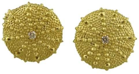 David Yurman 18K Yellow Gold 0.14ctw Diamond Round Cuff Links