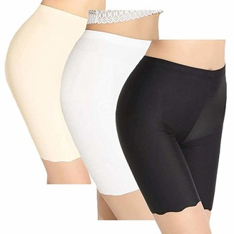 Younthone 3PC Ladies Ice Silk Solid Color Leggings Underwear Anti Chafing Shorts Sexy Long Leg Knickers Ladies Soft Boxer Shorts Fashion Casual Comfortable Breathable Khaki White Black S-XL