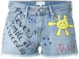 Mira Mikati graffiti denim short shorts