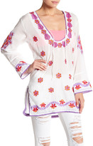 Letarte Deep Scoop Embroidery Pullover Tunic