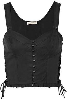 Ulla Johnson Thea Lace-up Twill Bustier Top