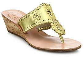 Jack Rogers Women's Jacks Whipstitched Metallic Leather Mid-Wedge Sandals