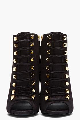 Giuseppe Zanotti Matte black leather gold-studded Alien boots