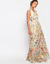 True Decadence All Over Embroidered Floral Maxi Dress