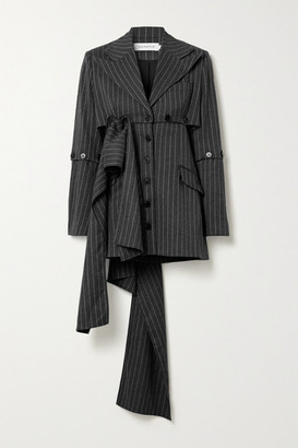 16Arlington Tracey Convertible Pinstriped Woven Blazer - Dark gray
