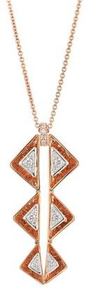 Plevé Aura 18K Rose Gold & Diamond Triangle Drop Necklace