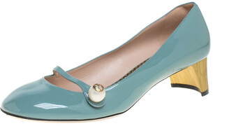Gucci Blue Patent Leather Pearl Detail Mary Jane Pumps Size 40