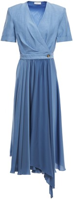 Sandro Paty Wrap-effect Shantung And Satin Midi Dress