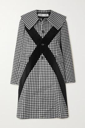 Comme des Garçons Comme des Garçons Velvet-trimmed Gingham Wool-twill Coat - Black