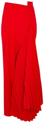 A.W.A.K.E. Mode Red draped cady maxi skirt