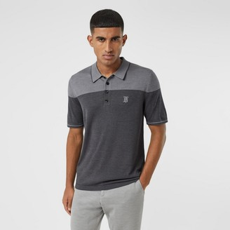 Burberry Monogram Motif Two-tone Silk Cashmere Polo Shirt