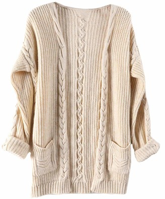 Liny Xin Women's Merino Wool Fall Winter Warm Lightweight Soft Knit Cable Vintage Oversized Long Cardigan Sweater with Pockets (L