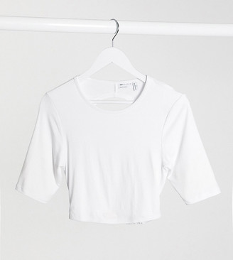 Asos Tall ASOS DESIGN Tall crop top with open back and half sleeve in white