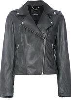 Diesel biker jacker - women - Cotton/Lamb Skin/Acetate - XS