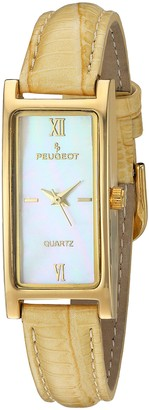 Peugeot Women's Slim 14K Gold Plated White Mother of Pearl Dial Tan Leather Thin Band Dress Watch 3017TN