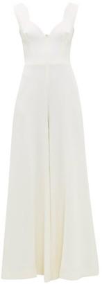 Emilia Wickstead Rosabel Sweetheart-neckline Wool-crepe Jumpsuit - Ivory