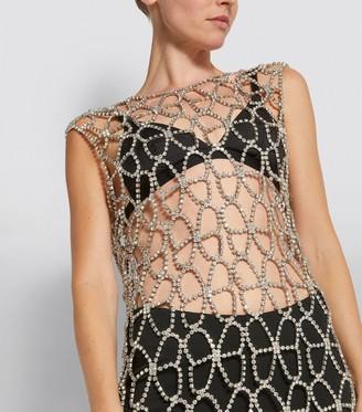 Area Nyc Crystal-Embellished Net Dress
