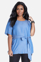 Fashion to Figure Collins Tie Waist Chambray Top