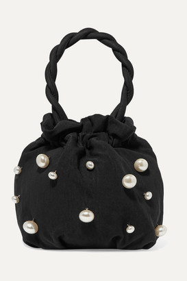 STAUD Grace Faux Pearl-embellished Twill Tote - Black