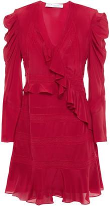 IRO Lace-trimmed Ruffled Silk Crepe De Chine Mini Dress