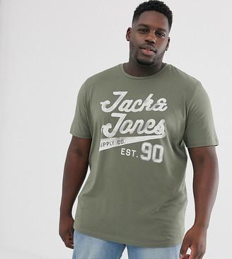 Jack and Jones Plus Originals big logo t-shirt-Green