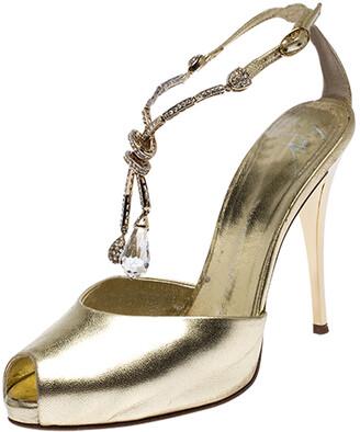 Giuseppe Zanotti Metallic Gold Leather Dangle Crystal Embellishment Sandals Size 37