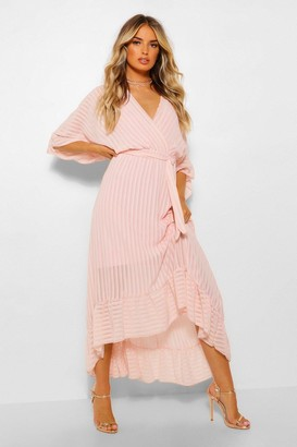 boohoo Pleated Ruffle Hem Midaxi Dress
