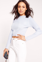 Missguided Panelled Rib Basic Ribbed Crop Sweater Lilac
