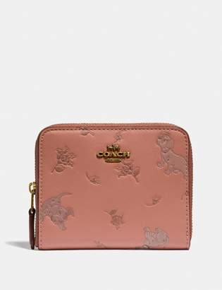 Coach Disney X Small Zip Around Wallet With Mixed Dalmatian Print