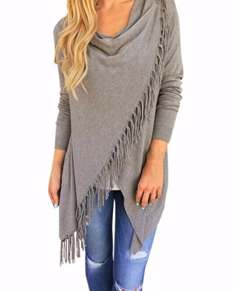 Style Dome Womens Cardigans Long Sleeve Knitted Jumper Waterfall Cardigan Poncho Blanket Cape Shawls Wraps Tassels Irregular Hem Scarf Pullover Sweater Coat Waterfall Cardigan 2-Light Grey S
