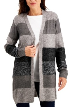 Karen Scott Turbo Colorblocked Cardigan, Created for Macy's