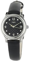 Timex Women's T2N450 Elevated Classics Swarovski Crystals Black Leather Strap Watch