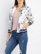 Charlotte Russe Floral Striped Bomber Jacket