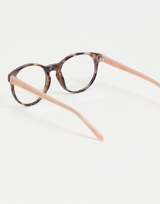 Quay Out Of Sight womens round blue light glasses in clear