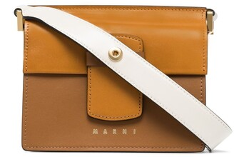 Marni White And Brown Severine Small Bicolour Leather Shoulder Bag