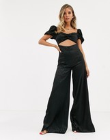 Dark Pink satin wide leg jumpsuit with cut out detail in black