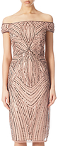 Adrianna Papell Petite Off Shoulder Beaded Cocktail Dress, Rose Gold