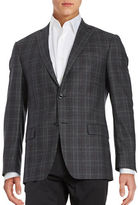 Michael Kors Plaid Two-Button Wool Jacket