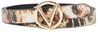 Mario Valentino Baby Wild Embossed Leather Logo Buckle Belt