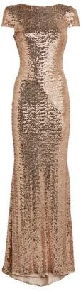 Badgley Mischka Cowl-Back Sequin Gown
