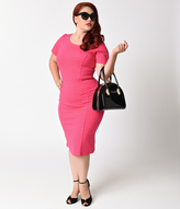 Unique Vintage Plus Size 1960s Hot Pink Dotted Short Sleeve Stretch Mod Wiggle Dress