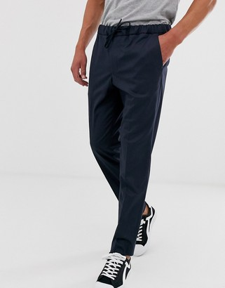 Jack and Jones drawstring waist trousers in navy