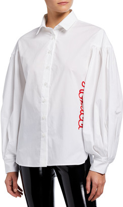 Fiorucci Puff-Sleeve Button-Down Logo Shirt