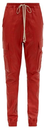 Rick Owens Drawstring Bonded Leather Trousers - Womens - Red