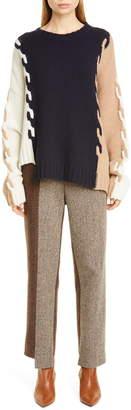 Monse Asymmetrical Cable Knit Wool Sweater