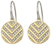 Fossil Polished Disc with Chevron Glitz Drop Earrings Earring