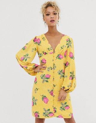 NEVER FULLY DRESSED button through mini dress with blouson sleeve in multi floral print